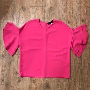 Francesca's Blue Rain Pink Ruffle Sleeve Blouse